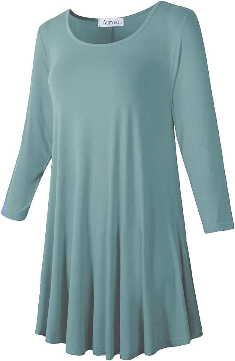 AUPYEO Womens Plus Size 3//4 Sleeve Tunic Tops Swing Loose T-Shirts for Leggings
