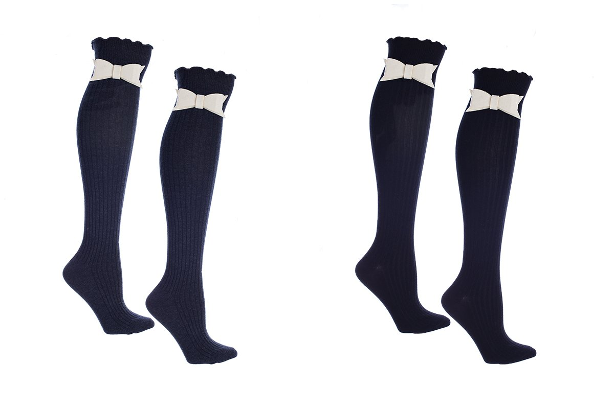 Women's 2 Pair Pack Knee High Boot Socks With Snap On Accessories One Size Fits Most by MinxNY
