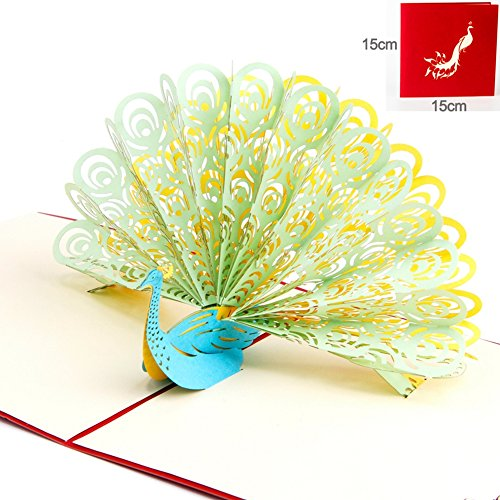 Paper Spiritz Peacock Birthday Card for Wife Husband Pop up Thank You Card 3D Handmade Laser Cut Card for Wedding Graduation Get Well ( Green, Showing Its Tail (Halloween Wedding Greeting Cards)