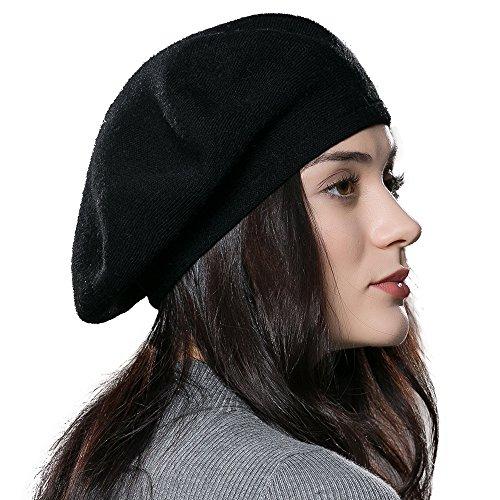 ENJOYFUR Women Beret Hat Wool Knitted Cap Autumn Winter Hat (Black)