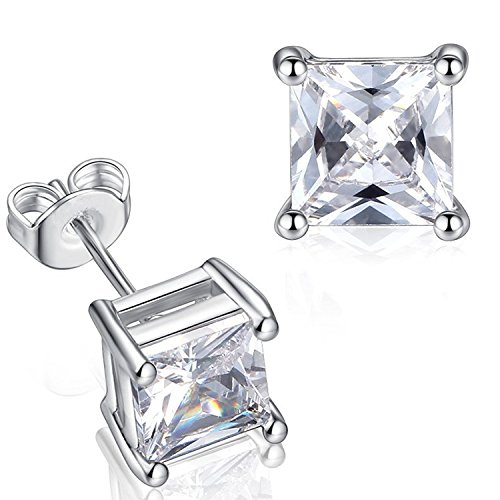 GULICX Silver Tone 7mm Square Stone CZ Stud Earrings White Clear Unisex Men Women