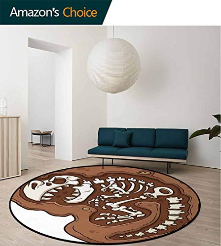 (Dinosaur Warm Soft Cotton Luxury Plush Baby Rugs,T-Rex Fossil In The Ground Clip Art Style Dead Bones Archeology Prehistory Theme Kids Teepee Tent Game Play House Round Round-51 Inch,Brown White)