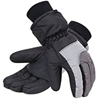 Halconia Thinsulate Insulation Ski Gloves Snow Gloves for Mens,Black Grey XL