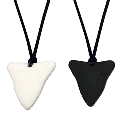BPA Free Natural Organic Silicone Teething Shark Tooth Chew Necklace for Kids