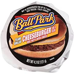 Ball Park Cheeseburger Sandwich, 4.3 Ounce -- 12 per case. Ball Park brand will drive consumer repeat purchases Butcher wrap paper helps product hold in the warming unit for up to four hours, reducing spoilage Individually wrapped to help ens...