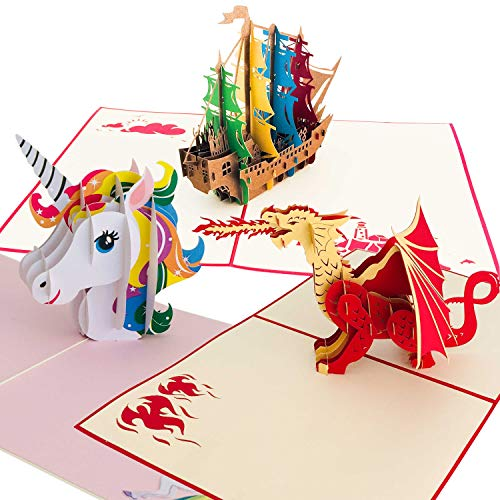 Premium Handmade 3D Pop Up Birthday Card 3 Pack | Greeting Cards for Adults & Happy Birthday Kid's Cards | Full Color Laser Cut Cards for Moms, Dads & Children | Unicorn, Dragon, Pirate Ship