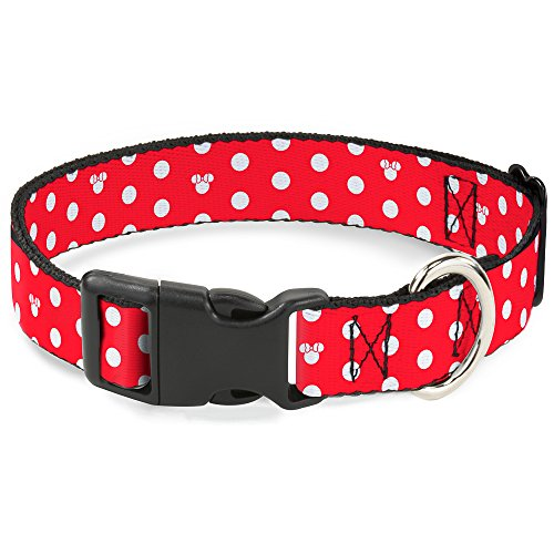Buckle Down BAC-WDY240-NL Breakaway Cat Collar-Minnie Mouse Polka Dot/Mini Silhouette Red/White, 1/2 W-9-15 (Collar Mini)