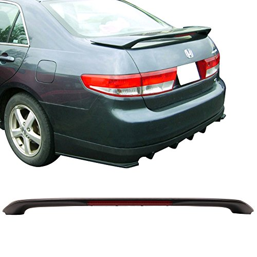 Trunk Spoiler Fits 2003-2005 Honda Accord LED 3rd Brake LED Sedan | Factory Style Black ABS Car Exterior Trunk Spoiler Rear Wing Tail Roof Top Lid by IKON MOTORSPORTS | 2004