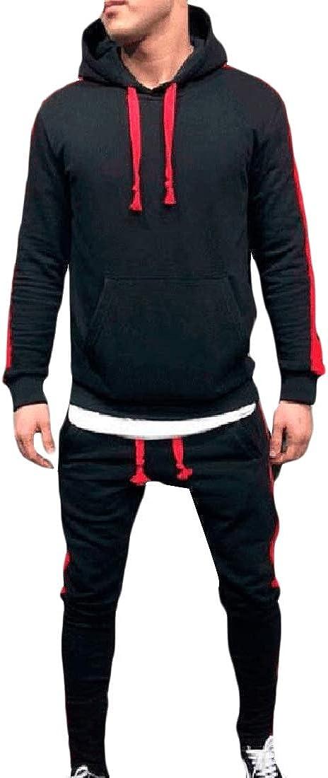 Zimaes-Men Regular Fit Sweatshirt Big Pockets Hooded Pullover Sweatsuit