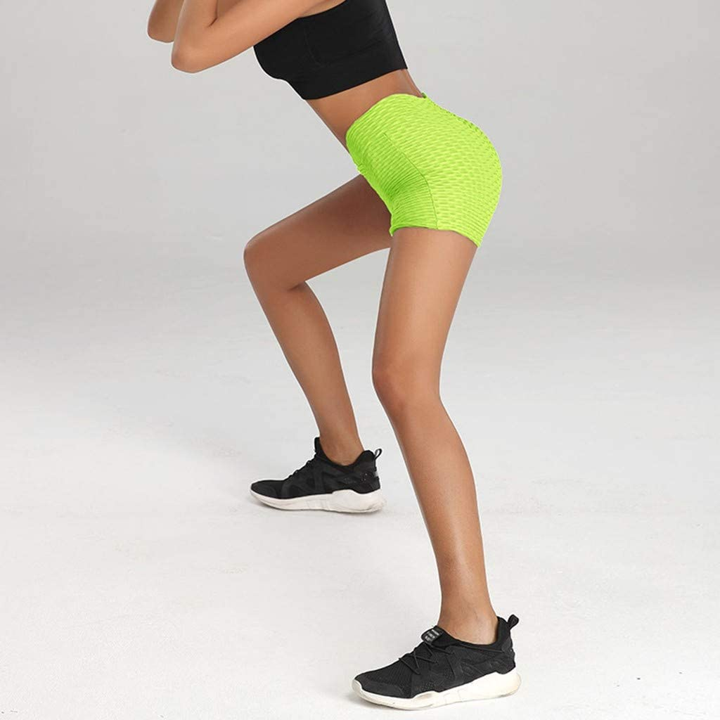 EINCcm Womens High Cut Solid Color Stretch Athletic Workout Yoga Shorts Hip Training Short Pants