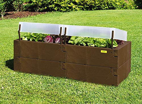 Exaco Dark Brown Outdoor Timber Raised Garden Bed Elevated 24 x 16 Herb Vegetable Planter Box Patio Growing Kit with Easily Removable Lighweight Cold - Raised Bed Timber