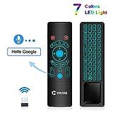 DZSF T6 Voice Remote Control 2.4G Wireless Fly Air Mouse Mini Teclado Inglés Ruso 7 Colores luz de Fondo para TV Box T9 X96 MAX (1pcs)