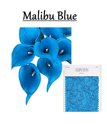 Soft Blue Flower (Lot of 60-Quality soft artificial Real Touch Calla lily 2.25