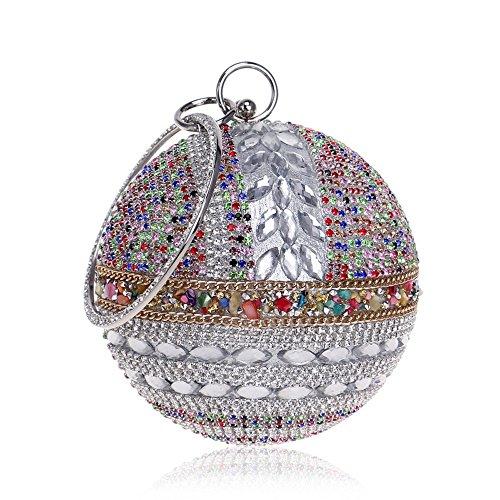 Sacs de avec de Poignée Chaîne Soirée Élégante avec Sac Bandoulière Jour Femmes Acrylique de TuTu Sacs à Diamants Soirée Embrayages silver qtZEAw
