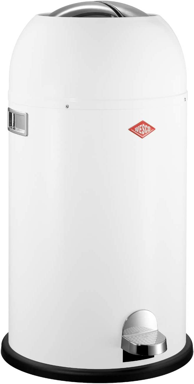 Wesco Kickmaster - German Designed - Step Trash Can, Powder Coated Steel, 8.7 Gallon / 33 L, White