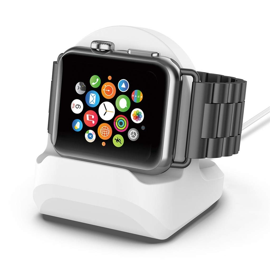 Smart Watch Charging Bracket, salaheiyodd New Durable Silicone Charging Dock Stand Holder Bracelet Compatible For Apple Watch Series 4/3/2/1 (White)