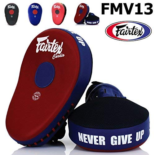 Bangplee_Sport FAIRTEX FMV13 MAXIMIZED Focus Mitts Punching Training Muay Thai Boxing (Red/Blue)