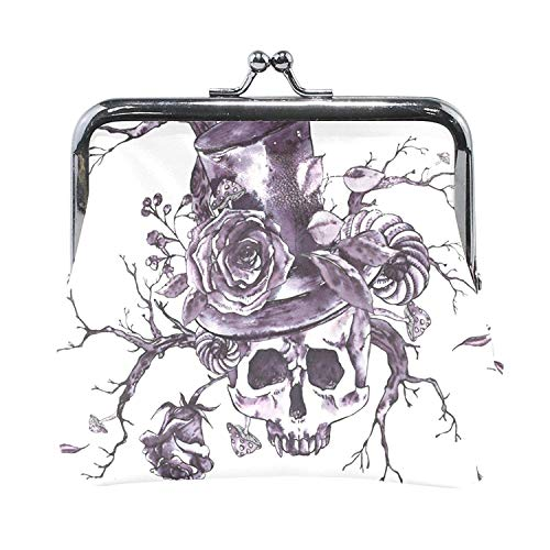 Coin Purses Skull Twigs Rose Vampire Hat Kiss-lock Buckle Vintage Clutch Cosmetic Bags by All agree
