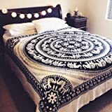 EYES OF INDIA - QUEEN WHITE HIPPIE INDIAN ELEPHANT MANDALA TAPESTRY BEDSPREAD Beach Dorm Bohemian Boho