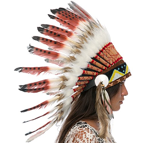 India Costume For Male (Feather Headdress- Native American Indian Inspired- Handmade by Artisan Halloween Costume for Men Women with Real Feathers - Brown Tip)