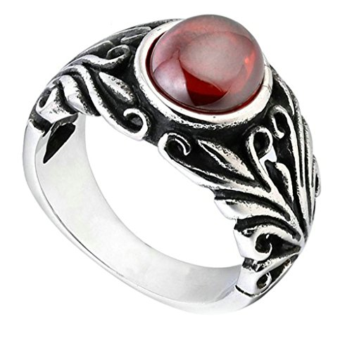 [Aooaz 316L Stainless Steel Mens Ring Bands Round Red Size 8 Punk Gothic Vintage Novelty Ring] (Tarnished Costume Jewelry Cleaner)