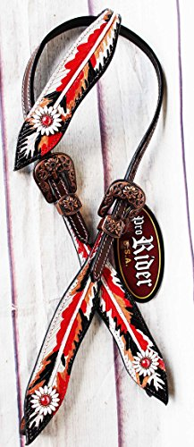 PRORIDER Horse Equine Show Bridle Western Leather Rodeo Headstall Red Tack Rodeo 8846HA
