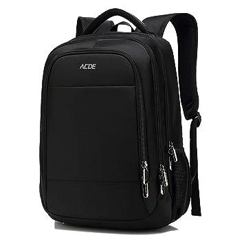 ACDE Mochila para Portátil 15.6 Pulgadas Mochila de Ordenador con Puerto de USB para Viajes Negocios Colegio Hombres Mujeres Negro
