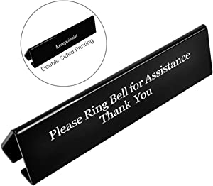 NO Receptionist Desk Sign, UCEC The Office Sign Please Ring Bell for Assistance Thank You Sign, Double Sides Printed Office Sign for Lobby Or Front Desk Service(7.8 Inches x 2 Inches)