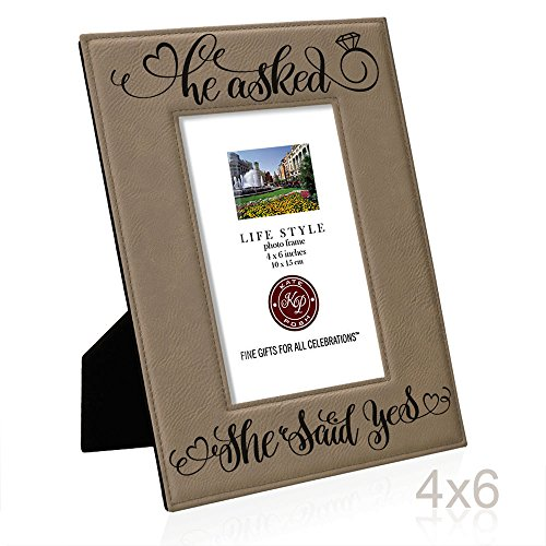 He Asked She Said Yes Engraved Leather Picture Frame Engagement