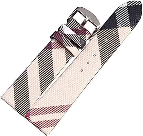 MSTRE NP26 18mm/20mm Unisex Calfskin Leather Watch Band Suitable for Burberry Watches (20mm, Beige)