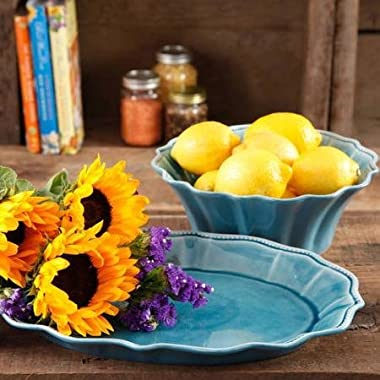 The Pioneer Woman Paige 2-Piece Serving Set with 10  Serving Bowl and 14  Serving Platter, Transparent Glaze, Stoneware - Turquoise/Blue