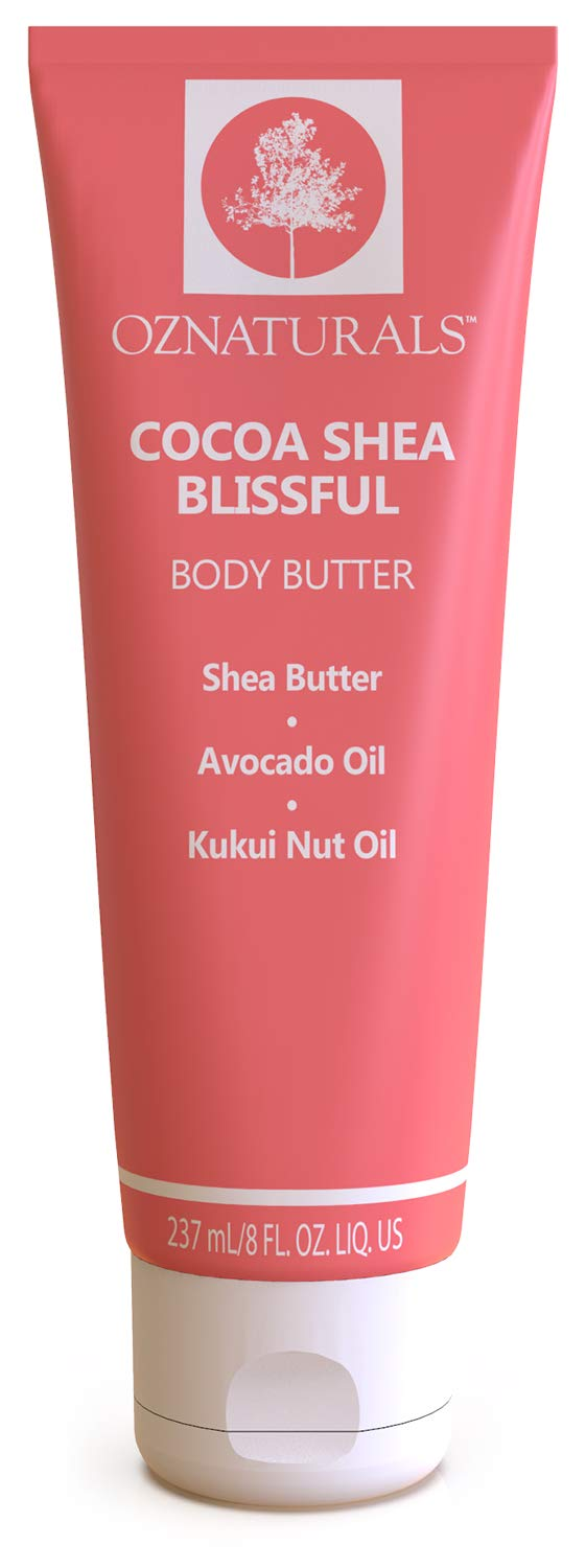 OZNaturals Cocoa Shea Body Butter: Blissful Body Butter Cream Moisturizer with Shea Butter, Cocoa Butter, Avocado Oil and Kukui Nut Oil - Rich Moisturizing Body Lotion for Dull, Dry Skin - 8 Fl Oz by OZ Naturals