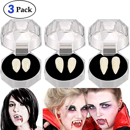 Angel Kiss 3 Pairs Vampire Fangs Teeth - Dentures Cosplay Props for Halloween Costume Accessory Props Party -