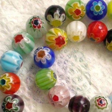 - 8mm Assorted Round Single Flower Millefiori Glass Beads 15