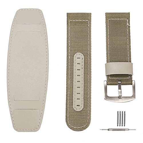 Quick Release Sport Wrist Watch Band Nylon SIBOSUN Replacement Strap Military Leather Band Pad 22MM Green -  MCD-WTA006
