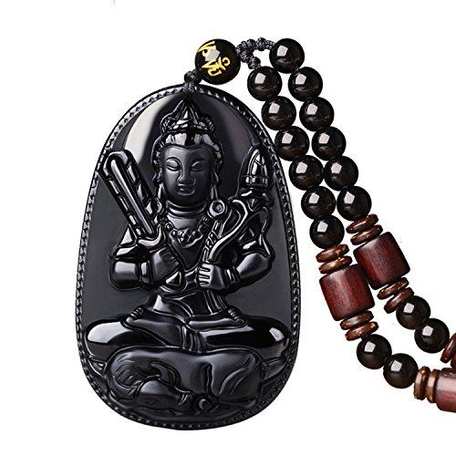 atural Pendant Necklace Zodiac Bodhisattva Amulet Talisman (Black Obsidian Pendant)