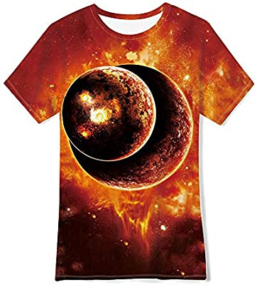 Celestial Body Childrens Summer Short Sleeve Printing T-Shirts