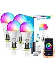 4Pack Lâmpada LED Inteligente XUELILI,Smart Lâmpada de Led Bulbo Bivolt,Compatível com Alexa e Google Home,A19-9W, RGB+CW, 2700K-6500K, 850Lm, aplicar à base E26 / E27, Smart Life APP controle remoto