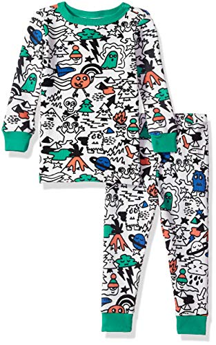 Gymboree Baby Boys 2-Piece Tight Fit Thermal Sleeve Long Bottoms Pajama, Green Alien Doodle 2T
