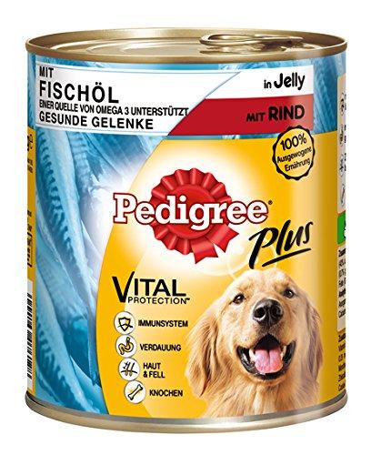 Pedigree Adult Plus Hundefutter Fischöl - Rind in Gelee, 12 Dosen (12 x 800 g)