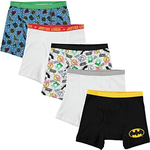 Handcraft Big Boys' Justice League 5pk Boxer Briefs, Assorted, 8 ()