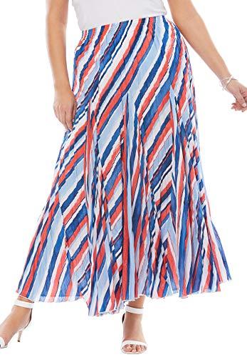 Jessica London Women's Plus Size Cotton Crinkled Maxi Skirt - Watercolor Stripe, 26 Crinkled Cotton Maxi Skirt