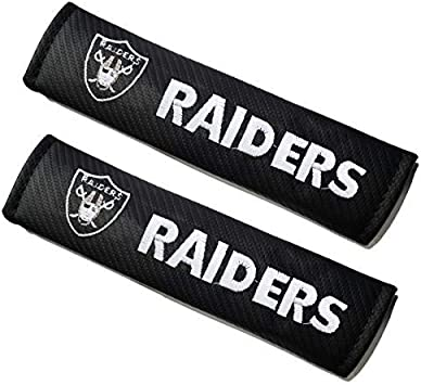 Embroidered Team Logo Mattle Black Leather Car Seat Belt Pads Safety Belt Cover Pad for Oakland Raiders Fans cargooghi 2Pcs Seat Belt Covers Shoulder Pads for NFL Oakland Raiders