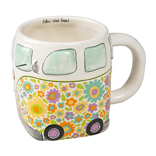 Natural Life Camper Van Folk Mug - 16 oz, Fun, Cute, 3D Ceramic Retro Bus Mug With Handle