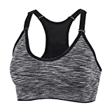 YEYELE Women Adjustable Straps and Removable Pads Tank Top Seamless Racerback Sports Bra, Gray, M(34D 36A 36B 36C 36D 38A 38B)