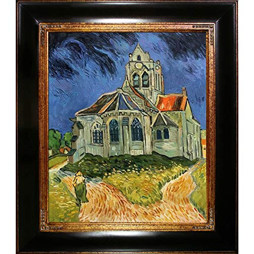 overstockArt The Church at Auvers with Opulent Framed Oil Painting, 33 x 29 , Multi-Color