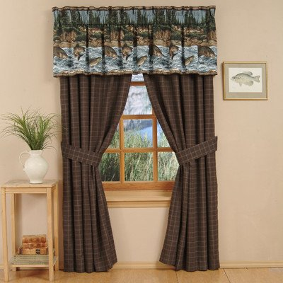 Kimlor Bedding River Fishing Cotton Rod Pocket Curtain Panel Pair with Tiebacks ()