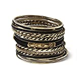 Amrita Singh Womens Gold Black Silk Venus Set of 17 Bangle Bracelets Size 8