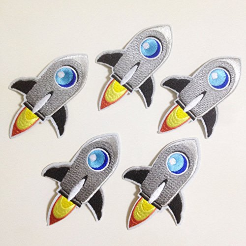 Set of 10 pcs Space Rocket Ship Shuttle Iron On Sew On Cloth Embroidered Patches Appliques Machine Embroidery Needlecraft Sewing Projects ()