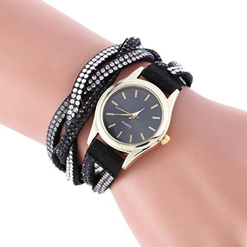 Price comparison product image AMA(TM) Women Wrap Around Rhinestones Leather Bracelet Quartz Wrist Watch (Black)